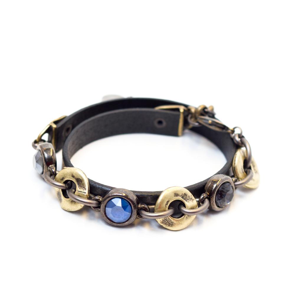 0942dcec7a718 Double Crystal Leather Bracelet