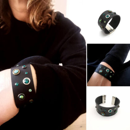 Natural leather bracelet with magnetic clasp